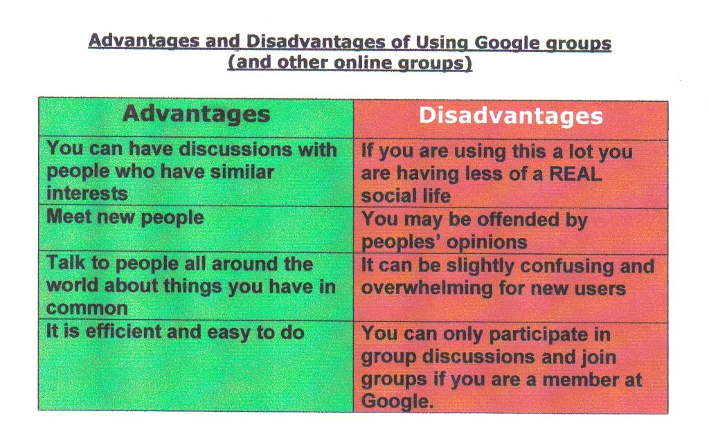 Bloggage    ♥♥: Advantages and Disadvantages to using Google Groups