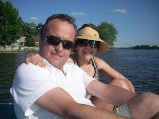 Con Moni disfrutando del agua y del sol