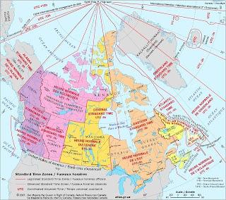 Mapa de las zonas horarias de Canadá
