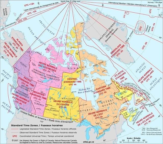 Aventura montreal las zonas horarias de canad - Heure canada quebec ...