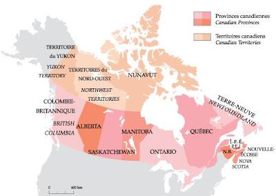 Mapa de Canadá actual