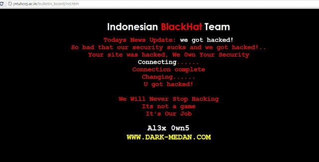JNTUH College site Hacked by Indonesian BlackHat Team !