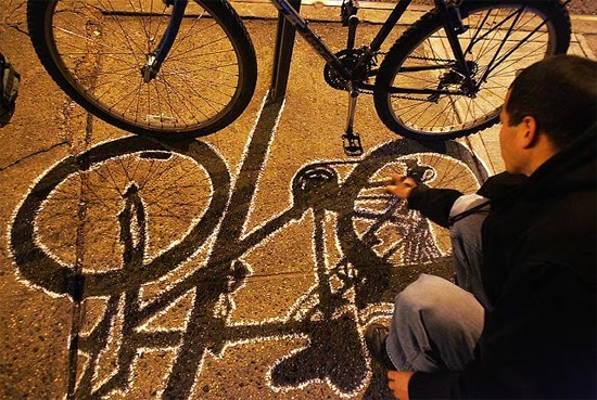shadow street art bycicle