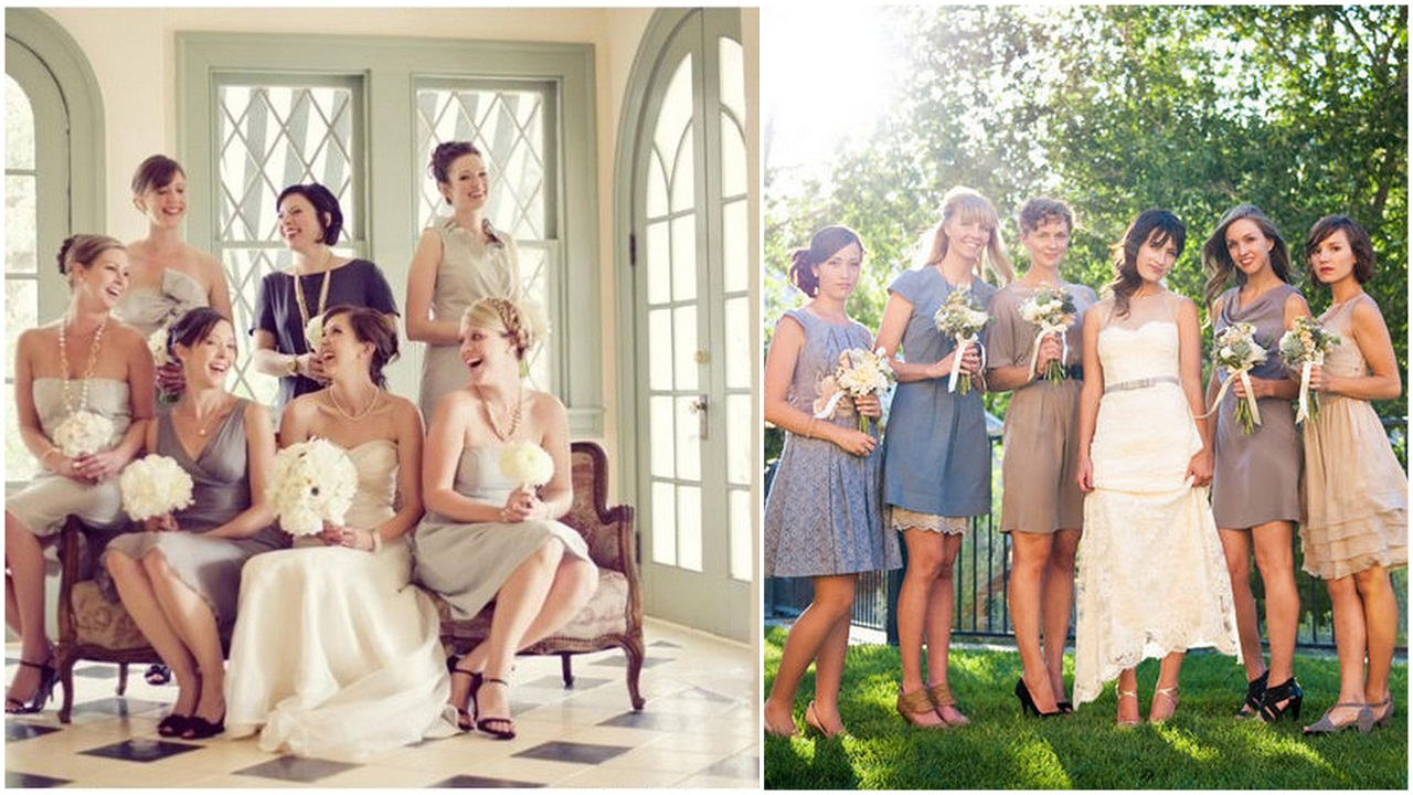 One Queen's Lane: Non-matching Bridesmaid Dresses