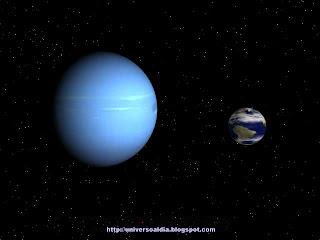 Neptuno comparado con la tierra