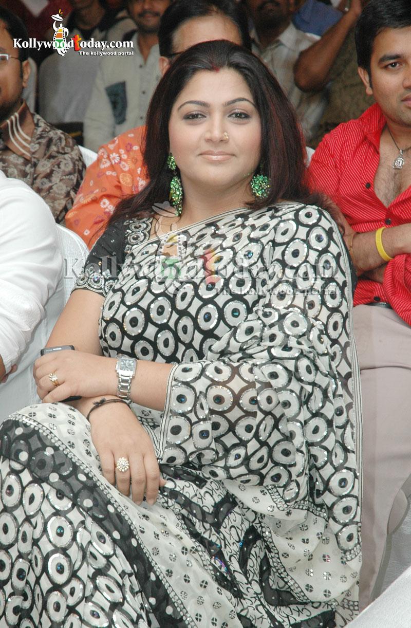 Film Actress Photos Kushboo Hot In Black Saree-2401