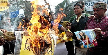 Big Brother protesters burning effigies