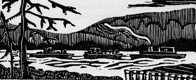 Gravure d'Henri Beaulac (1914-1994) extraite du recueil de Sylvain (pseudonyme d'un médecin trifluvien, Auguste Panneton, 1888-1966), DANS LE BOIS, Trois-Rivières, Les Éditions trifluviennes, 1940.