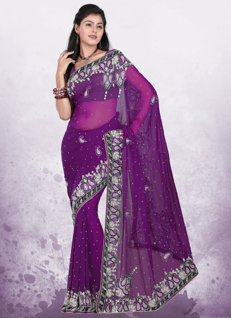 saree designer indian party wear traditional sari purple india mesmerizing touch dresses blouse dark beauty