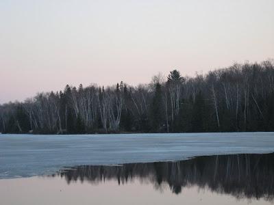 ice melting on lake