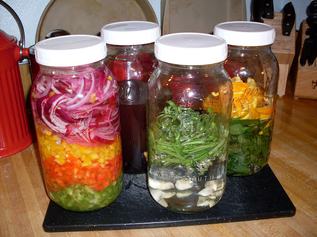 Make your own flavored vinegar, Flavored Vinegar with Peppers and Onions.
