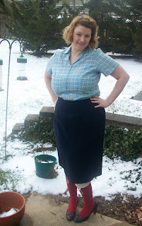 1950s plaid house dress refashion plus size vintage