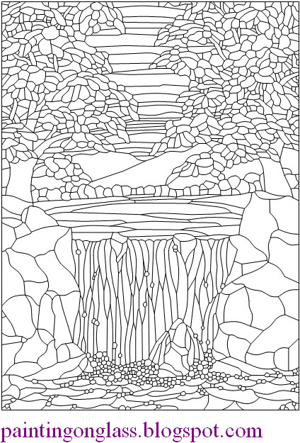 Free Stained Glass Pattern Waterfall Painting On Glass