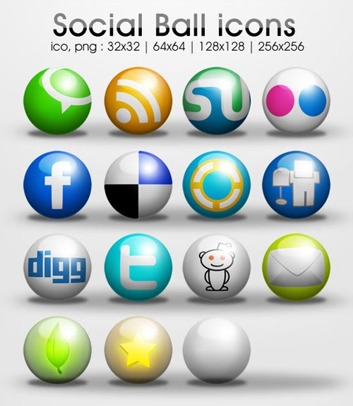Freebie : 3D Ball – Social Media Icon Set
