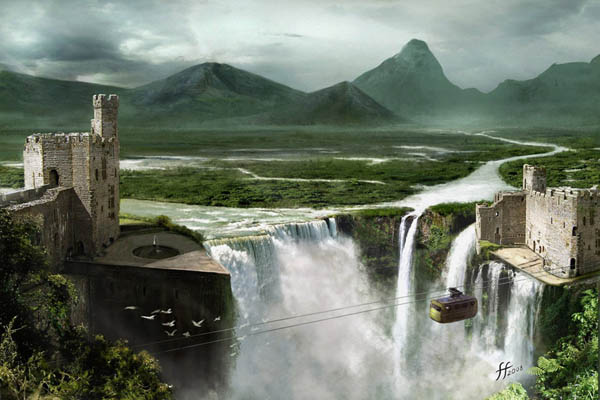 Waterfall Matte Painting By 14 Bis