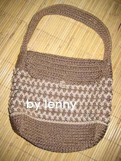 Tas dengan teknik crochet canvas,