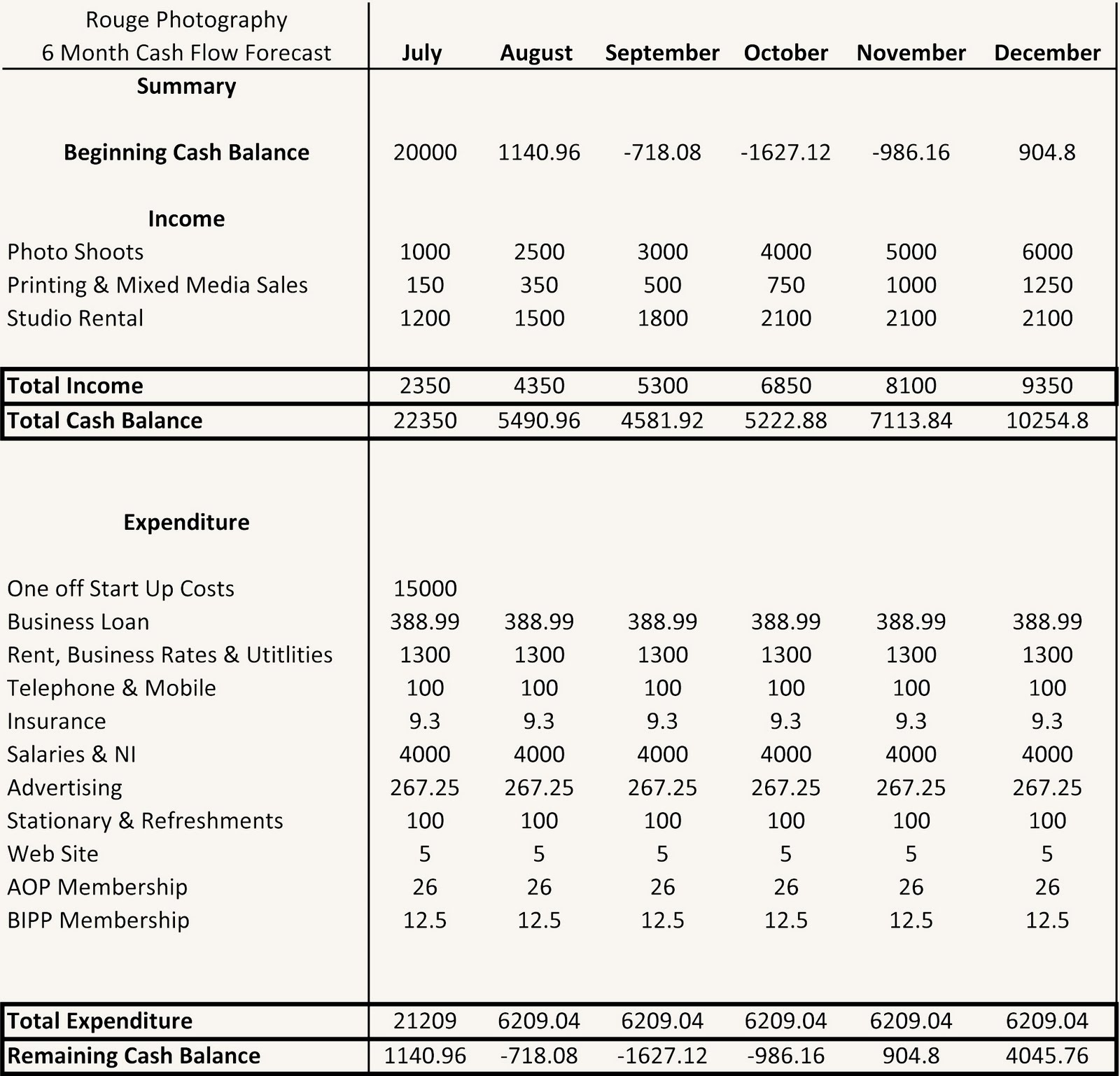 Rouge: Cash Flow- (Financial Forecast)- Final Draft and