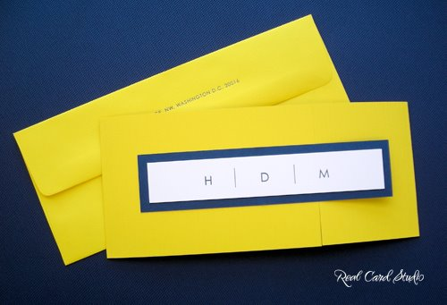 Sidecar invitation, monogram, letterpress printing, yellow, blue