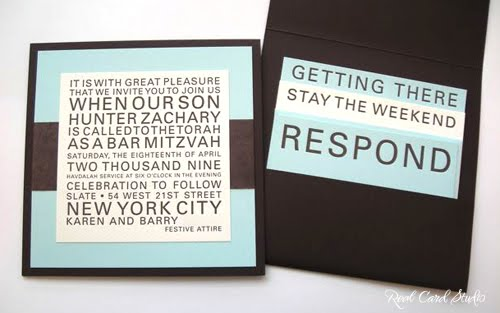 Letterpress printing, Bar Mitzvah invitation