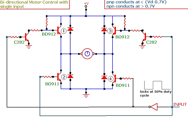Circuit Using Transistors On H Bridge Motor Driver Circuit Diagram