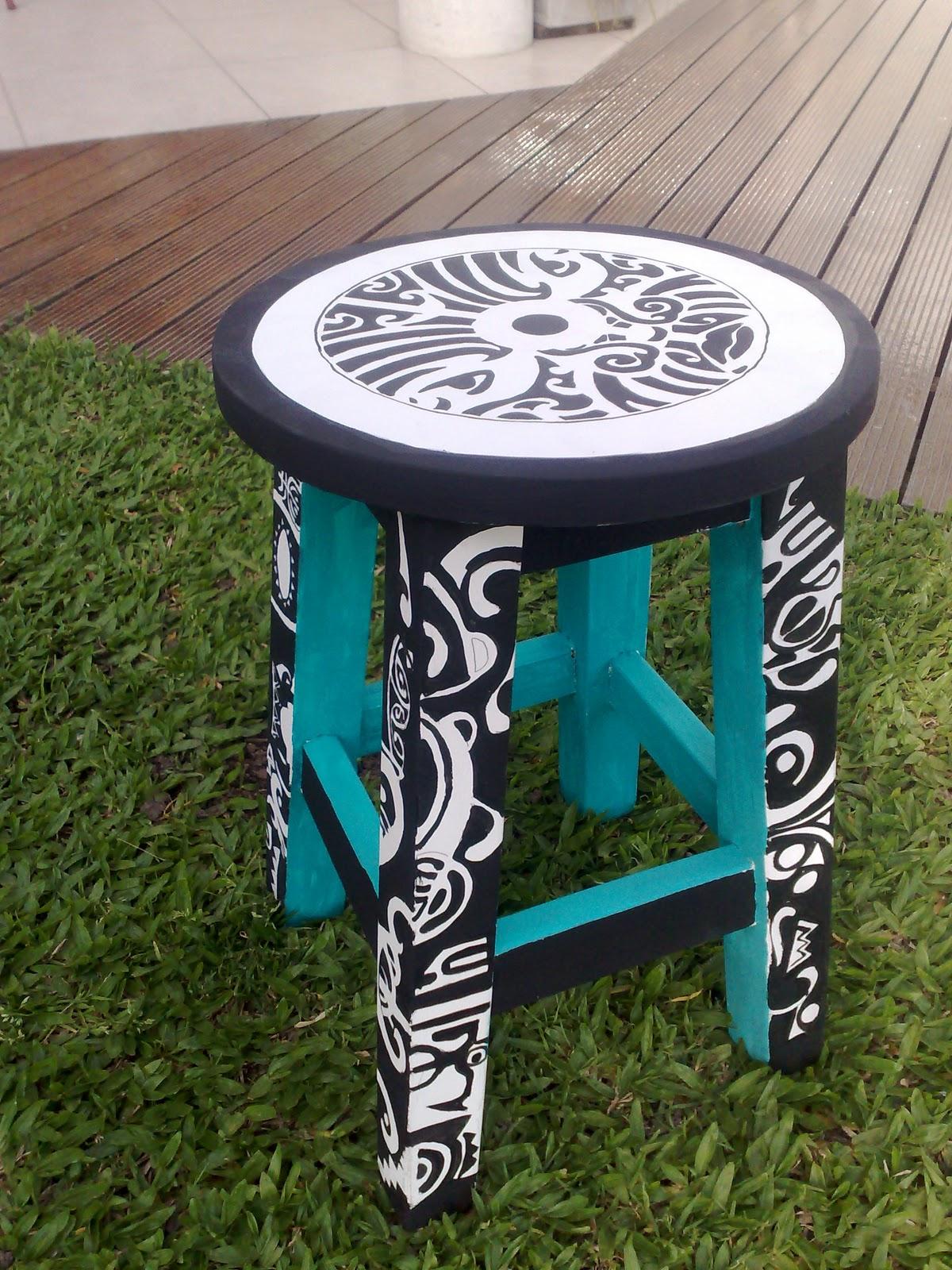 Vintouch muebles reciclados pintados a mano banqueta pintada a mano blanco y negro - Blanco y negro paint ...