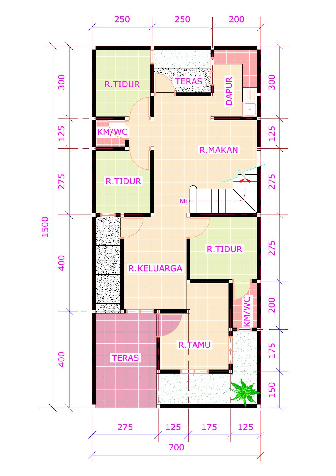 Denah Rumah 7x15 : denah, rumah, Desain, Rumah, Minimalis, Terbaru
