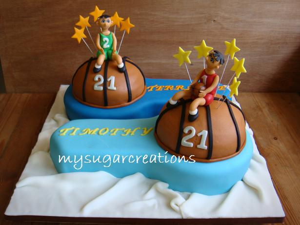 My Sugar Creations 001943746M 21st Birthday Cake for Twin Brothers