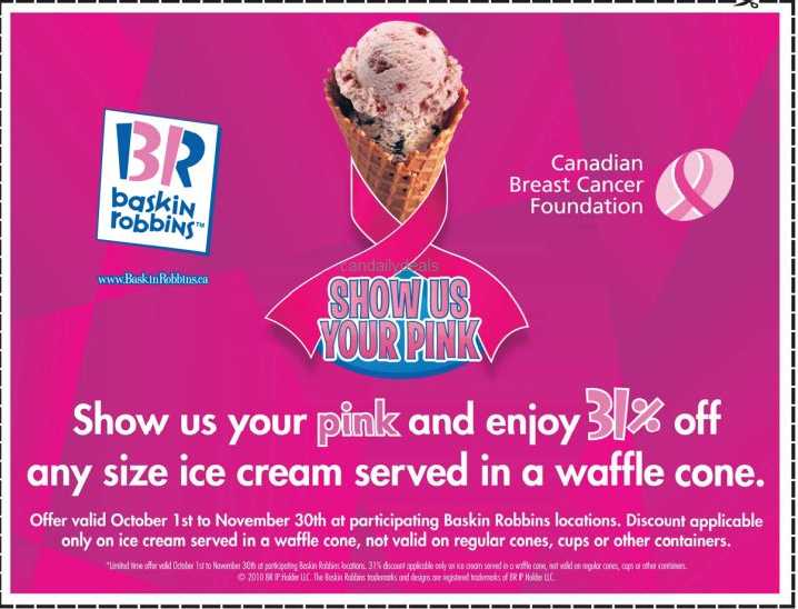 Canadian Daily Deals: Baskin Robbins: 31% off Any Size Ice