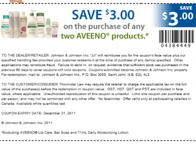 photograph about Aveeno Coupon Printable identify Canadian Everyday Bargains: Aveeno Canada: Preserve $3 Off 2 Aveeno