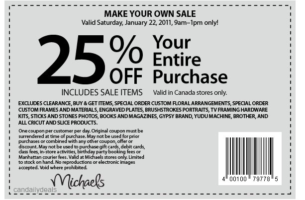 Canadian Daily Deals Michaels Canada 25 Off Entire Purchase Printable Coupon Jan 22 9am 1pm Only