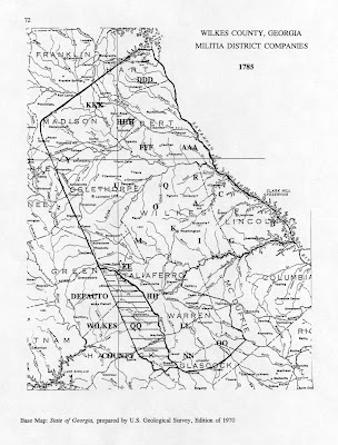 Map Of Georgia Militia Districts.Samuel Hardy Of Columbia Co Ga