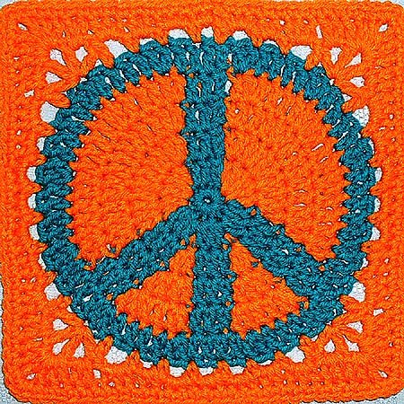 peace sign symbol crochet granny square judy k