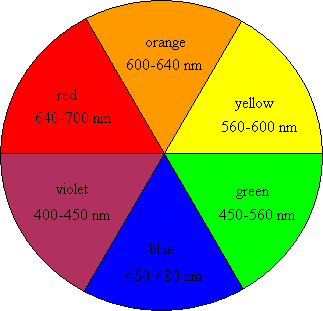 The Colour Wheel. The opposite colour across the wheel is the complementary colour. A red pigment absorbs green light. A dye that absorbs yellow light appears violet. This diagram shows a circle split into six equal sections which are in turn red, orange, yellow, green, blue, violet. the wavelengths are given.