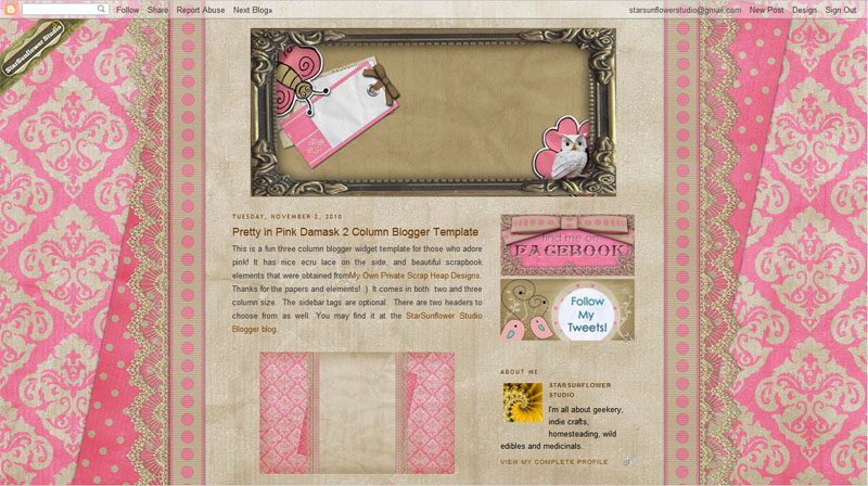 Pretty Pink Damask Dots Free Blogger Background and Buttons ...