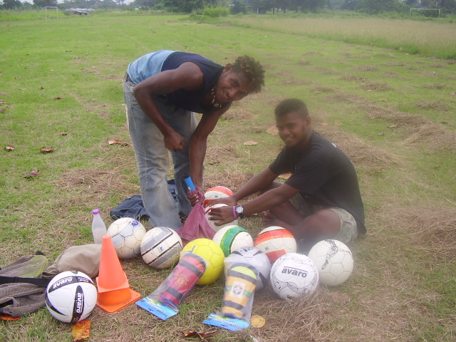 Checking out the training ground and getting the soccer balls ready for 2008
