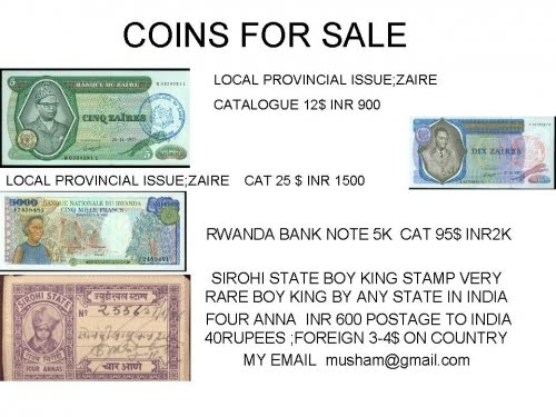 Indian Banknotes Philately Coins Stamps: Zaire provincial