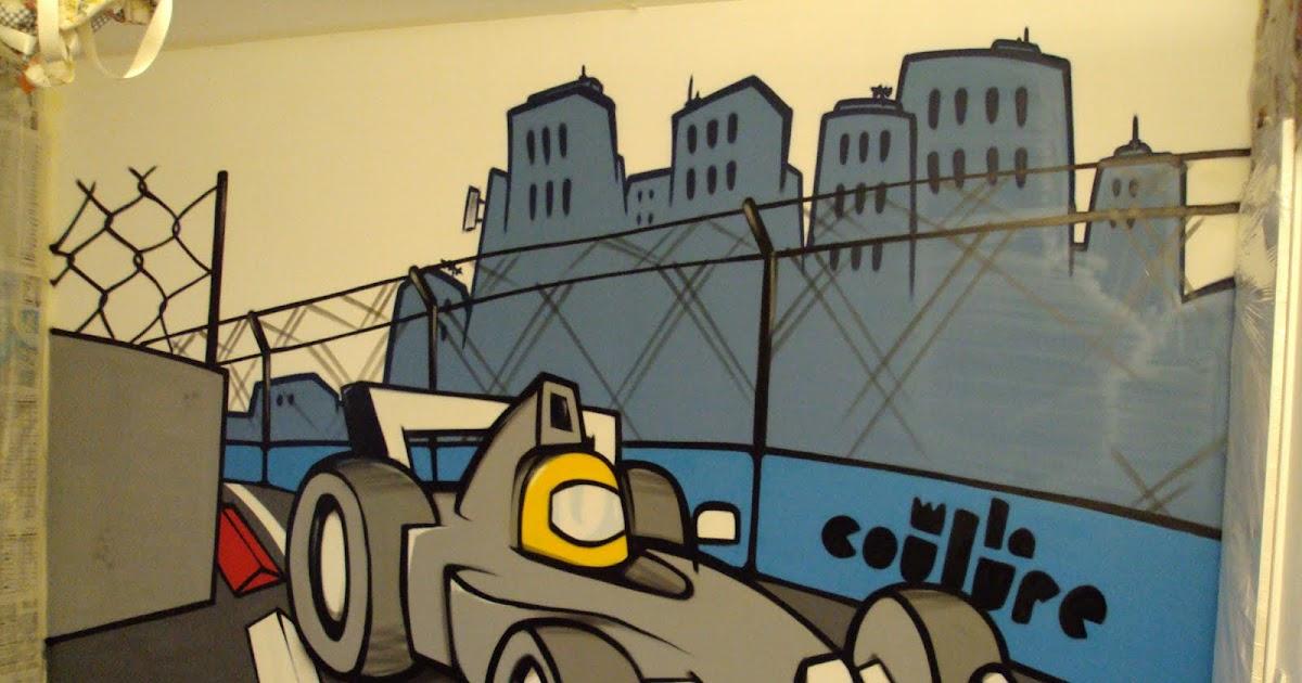 collectif la coulure graffiti lyon graff chambre d 39 enfant formule 1. Black Bedroom Furniture Sets. Home Design Ideas
