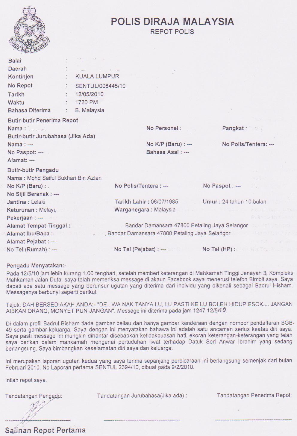 Mohd Saiful Bukhari Azlan Ugutan Lagi Laporan Polis