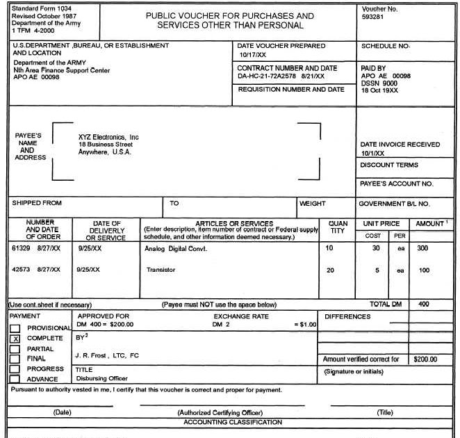 standard form 1034  government: federal government contracts