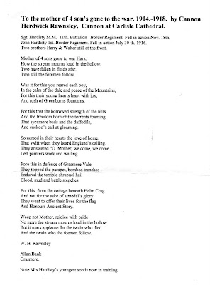 AFTER THE CONFLICT - Cumbrian War Memorials: Grasmere lads & a poem