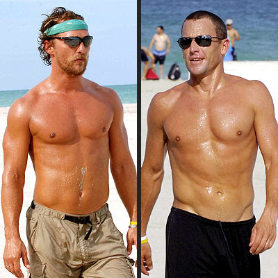 Matthew McConaughey v. Lance Armstrong at Miami Beach, April 25, 2006. People magazine. photo Gustavo Caballero-Getty/Storms Media Group.
