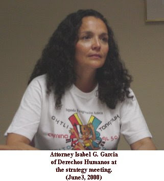 Isabel Garcia, Tucson Strategy Meeting, June 3, 2000. photo unknown.