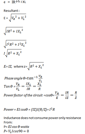 Analyze the formula for Series RL circuit and its Phasor