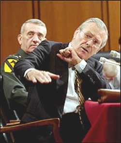 Rumsfeld does not want Bush anywhere near him..He regards himself clean now