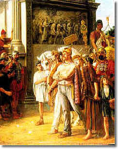 Caradoc leads the British Royal family into the Roman Senate..Cheney was out hunting.. thank God