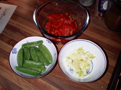 chopped vegetables for chicken laksa