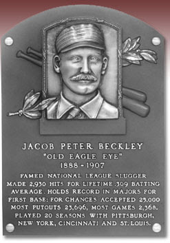 JACOB PETER BECKLEY  'OLD EAGLE EYE'  1888-1907  FAMED NATIONAL LEAGUE SLUGGER  MADE 2,930 HITS FOR LIFETIME .309 BATTING  AVERAGE. HOLDS RECORD IN MAJORS FOR  FIRST BASE: FOR CHANCES ACCEPTED 25,000  MOST PUTOUTS 23,696, MOST GAMES 2,368.  PLAYED 20 SEASONS WITH PITTSBURGH,  NEW YORK, CINCINNATI AND ST. LOUIS