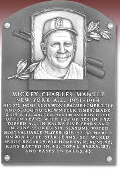 MICKEY CHARLES MANTLE  NEW YORK A.L. 1951-1968  HIT 536 HOME RUNS. WON LEAGUE HOMER TITLE  AND SLUGGING CROWN FOUR TIMES. MADE  2415 HITS. BATTED .300 OR OVER IN EACH  OF TEN YEARS WITH TOP OF .365 IN 1957.  TOPPED A.L. IN WALKS FIVE YEARS AND  IN RUNS SCORED SIX SEASONS. VOTED  MOST VALUABLE PLAYER 1956-57-62. NAMED  ON 20 A.L. ALL-STAR TEAMS. SET WORLD  SERIES RECORDS FOR HOMERS, 18; RUNS, 42;  RUNS BATTED IN, 40; TOTAL BASES, 123;  AND BASES ON BALLS, 43.