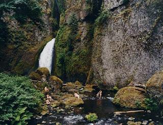 Justine Kurland Waterfall Mama Babies Painting