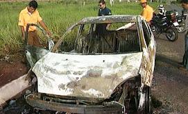 Agente de trânsito escapa de carro em chamas em Rondonópolis